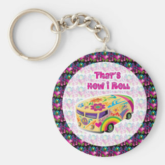 hippie van how i roll basic round button key ring
