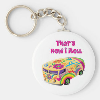 hippie van retro  how i roll basic round button key ring