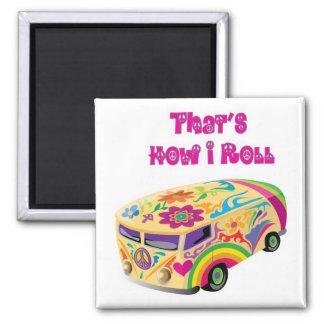 hippie van retro  how i roll square magnet
