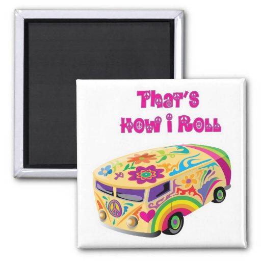 hippie van retro  how i roll magnet