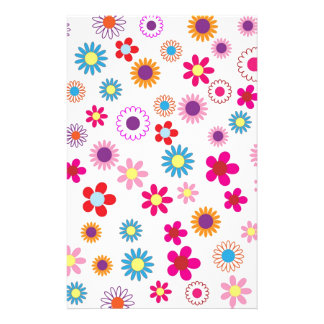 Hippie Vintage daisy flowers. red, purple, pink, g Stationery