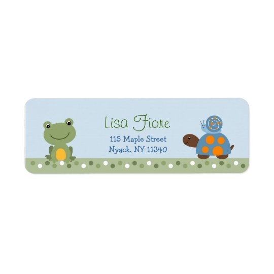 Hippity Frog Turtle Baby Shower Address Labels