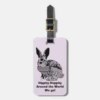 Hippity-Hop the Op-Art Bunny Luggage Tag