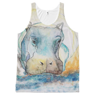 Hippo All-Over Printed Unisex Tank
