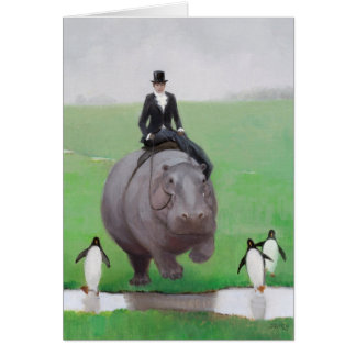 Hippo and Penguins Blank Note Card