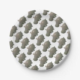 Hippo Animal Cartoon Character Paper Plate