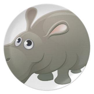 Hippo Animal Cartoon Character Plate