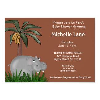 "Hippo Baby  Shower Invitations 5"" X 7"" Invitation Card"