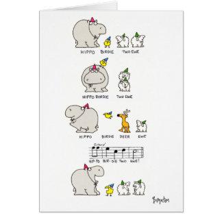 HIPPO BIRDIE GREETING CARD