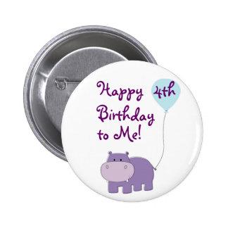 Hippo Birthday Button