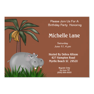 Hippo Birthday Party Invitations