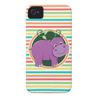 Hippo Bright Rainbow Stripes iPhone 4 Covers