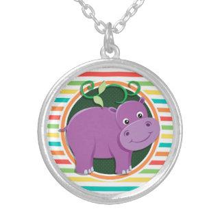 Hippo Bright Rainbow Stripes Custom Necklace