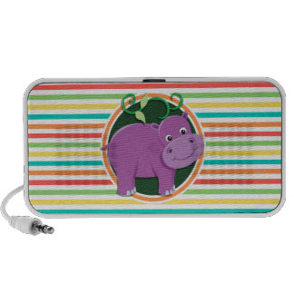 Hippo; Bright Rainbow Stripes PC Speakers