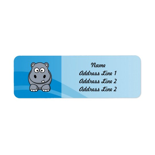 Hippo Cartoon With Blue Water Background Return Address Label