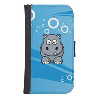 Hippo Cartoon With Blue Water Background Samsung S4 Wallet Case