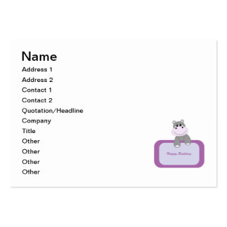 Hippo cartoon with Happy birthday message Business Cards