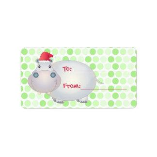 Hippo Christmas Gift Tags