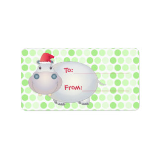 Hippo Christmas Gift Tags Address Label