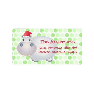 Hippo Christmas Return Address Labels
