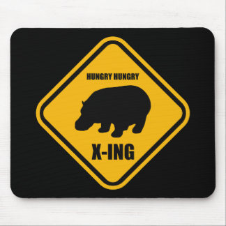 Hippo Crossing X-ing Sign Mouse Pad