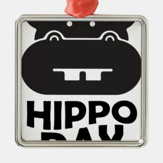 Hippo Day - 15th February Metal Ornament