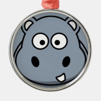 Hippo Face Silver-Colored Round Decoration