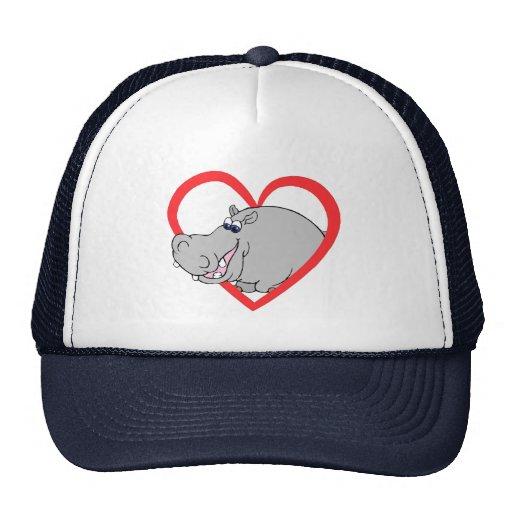 Hippo Heart Trucker Hats