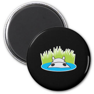 hippo hiding in water 6 cm round magnet