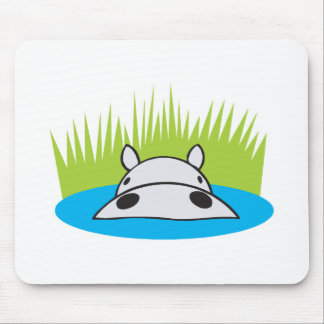 hippo hiding in water mouse mat