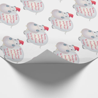 Hippo Hippopotamus Letter from Santa Christmas Wrapping Paper
