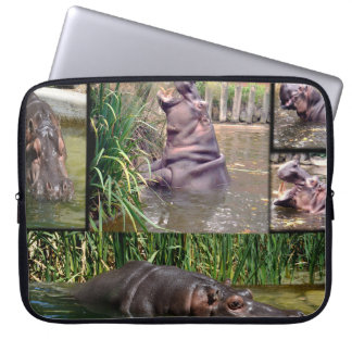 Hippo Photo Collage, Laptop Sleeve