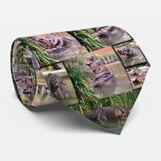 Hippo Photo Collage, Mens Silky Tie