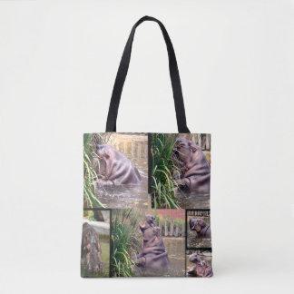 Hippo Photo Collage, Tote Bag