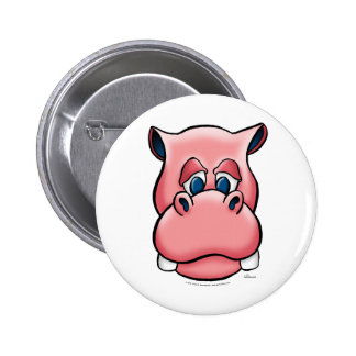 Hippo pink pinback button