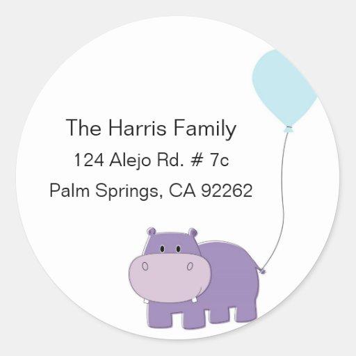 Hippo Round Address Labels Stickers
