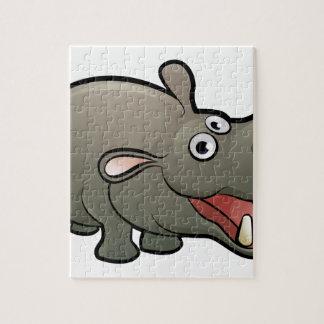 Hippo Safari Animals Cartoon Character Jigsaw Puzzle