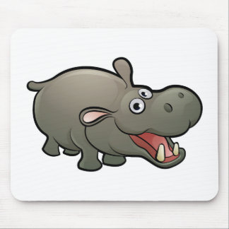 Hippo Safari Animals Cartoon Character Mouse Pad