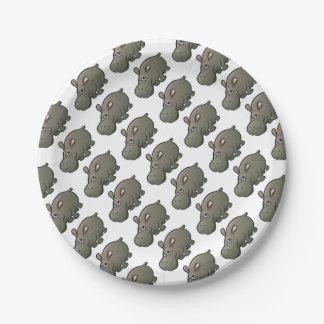 Hippo Safari Animals Cartoon Character Paper Plate