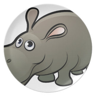 Hippo Safari Animals Cartoon Character Plate