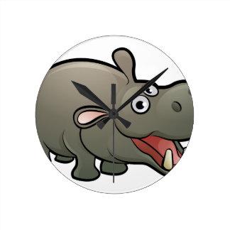 Hippo Safari Animals Cartoon Character Round Clock