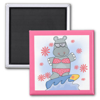 Hippo Surfing Tshirts and Gifts Magnet