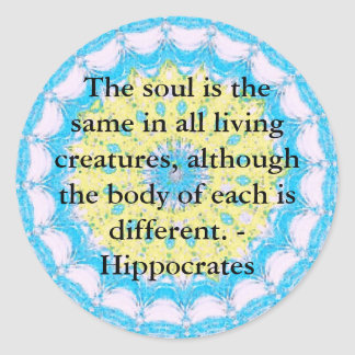 Hippocrates Animal Rights Quote Round Sticker