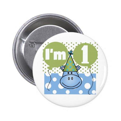 Hippopotamus 1st Birthday Tshirts and Gifts Pins