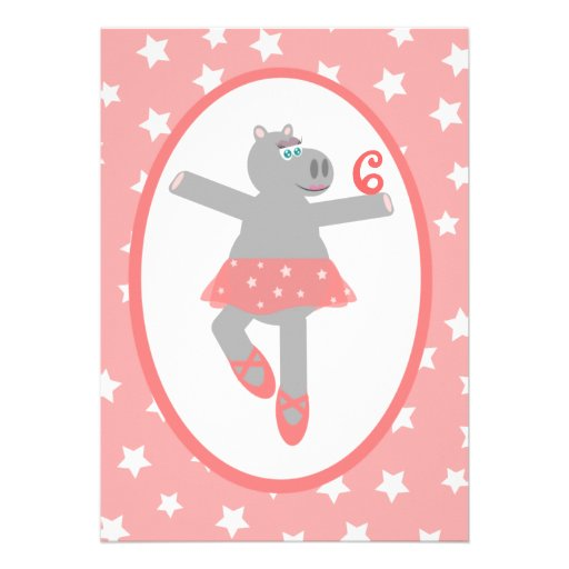 Hippopotamus Ballerina Ballet Birthday Party Announcements