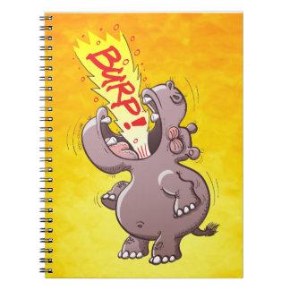 Hippopotamus Burping Loudly Spiral Notebooks