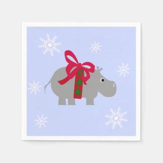 Hippopotamus Christmas Party Paper Napkins