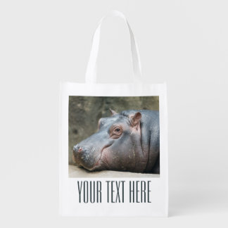 Hippopotamus custom reusable bag