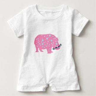Hippopotamus Dots Moustacehs Baby Romper, White Baby Bodysuit