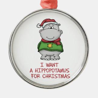 Hippopotamus for Christmas - Cute Hippo Design Silver-Colored Round Decoration